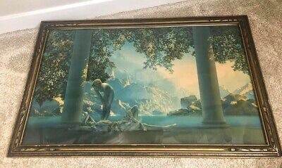 """Antique 1920s/1930s framed Maxfield Parrish - Daybreak print 18 x 30"""" large"""