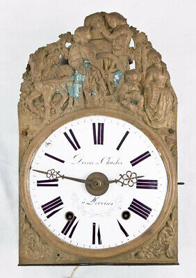 French 8 day verge escapement Morbier wall clock movement w/ alarm @ 1850 Signed