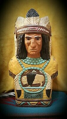 (WC2) Hand Carved 22in Wood Cigar Store Indian Bust