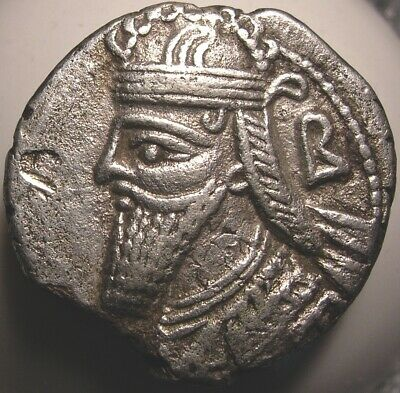 Ancient Parthian Coin/Vologases IV/Diadem/Tiara/King/Throne/Tyche/Scepter/Sword
