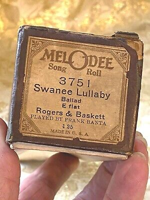 """MelOdee Player Piano Roll  """"Swanee Lullaby"""" No.3741. Good Condition!"""