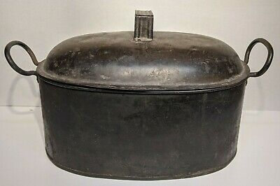 Antique Vtg #3 Carbon Steel Roasting Oven Pan Cooking Hand Wrought Cast Iron