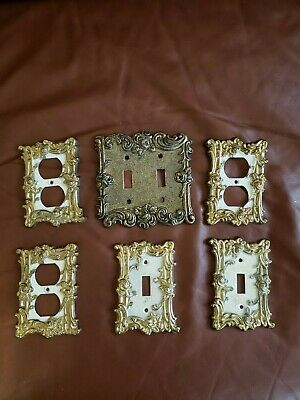 Antique Vintage Electrical Wall Plates- light and plug socket (lot of 6)