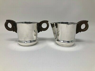 William Spratling Mexico Sterling Silver Hand Wrought Sugar Bowl & Creamer