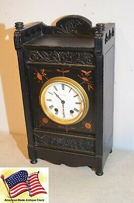 Seth Thomas Bee-1881 Antique Fine Cabinet Clock - Ebonized Walnut With Bees