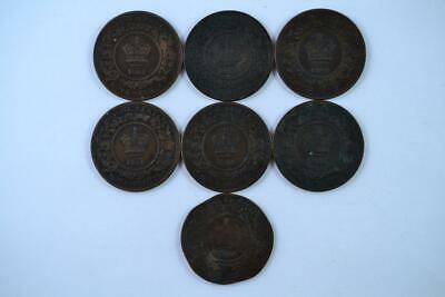 Lot of 7   1864 Canadian Large Penny 1c One Cent Coins (7 Total). FREE SHIPPING