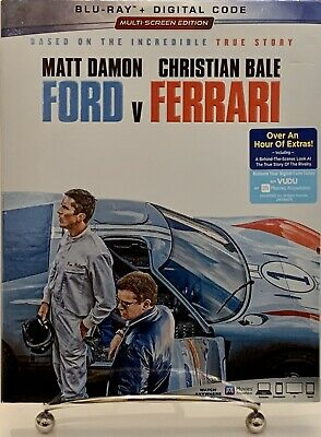 Ford V Ferrari Blu-Ray + Digital Code W/Slipcover Factory Sealed New!