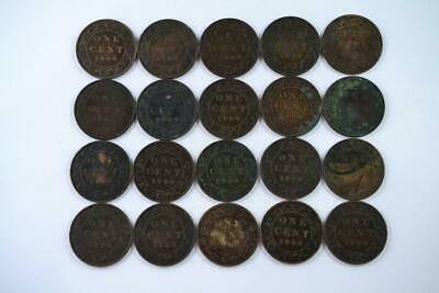 Lot of 20 | 1900 Canadian Large Penny 1c One Cent Coins (20 Total) FREE SHIPPING