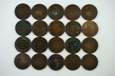 Lot of 20   1893 Canadian Large Penny 1c One Cent Coins (20 Total) FREE SHIPPING