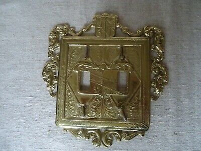 VIRGINIA METALCRAFTERS Solid Brass Very Ornate Double SWITCHPLATE  New W/O Tags