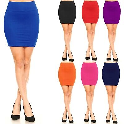 Women's Pencil Mini Skirt Mid Waist Basic Bodycon Shinny Stretch Material S ~ XL