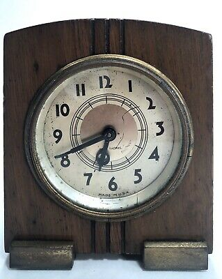 Seth Thomas Clock Small Art Deco WInd-Up Wooden Brass Table Shelf Mantel Vintage