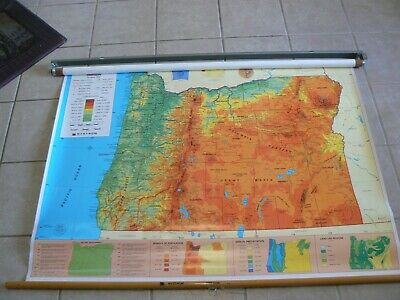 """Vintage Nystrom Pull Down Physical Map of Oregon - 1987 - 50"""" Wide & 36"""" High"""