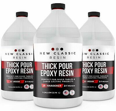 "2"" THICK POUR EPOXY RESIN For ART CASTING & RIVER TABLES, SUPER CLEAR, 3 GALLON"