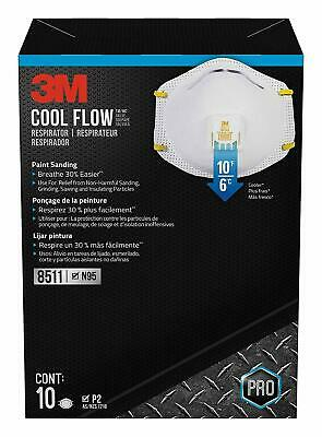 3M N95 Cool Flow 8511 Particulate Respirator Valve Masks 1 Box 10 Pack New