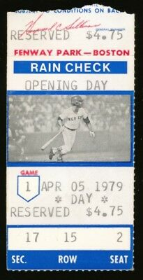 1979 Boston Red Sox Opening Day Ticket Stub Fenway Park vs Indians Yaz Pic~(PL)