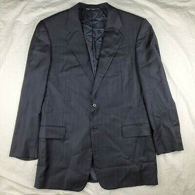 Hickey Freeman Nordstrom Boardroom Navy 2 Button Suit Jacket 100% Wool 42L USA