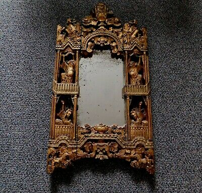 Antique Asian Chinese Carved Gilded Wood Mirror Qing Dynasty