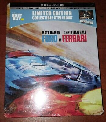 FORD V FERRARI (U.S. EXCLUSIVE STEELBOOK, 4K Ultra HD +Blu-ray + Digital) New