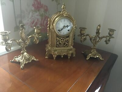 Antique Franz Hermle Imperial mantle Gilt Clock Candelabras vintage gilded set