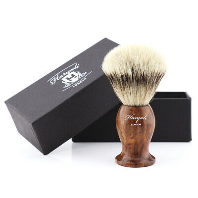 Shaving Brush Soap Lather With Wooden Handle & Silver Tip Badger Hair HARYALI