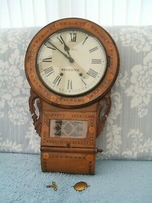 "Antique Inlaid / Marquetry / Drop Dial Wall Clock ""Kay Worcester""."