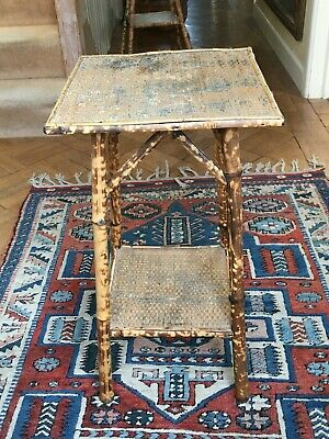 Antique Victorian Two Tier Bamboo Table
