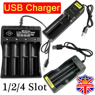 1/2/4/ Slot Li-ion 18650 Battery Charger USB Fast Charger Dual for 3.7V 18500 UK