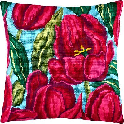 """Needlepoint/Tapestry Pillow Cover DIY Kit """"Tulips"""""""
