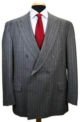 Chester Barrie Savile Row Gray Wool Chalkstripe Double Breasted Suit Jacket 46R
