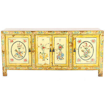 """Mongolian Chinese 4 Door Yellow Decorated Sideboard Buffet Cabinet 77"""" long 36""""T"""