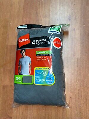Hanes Mens 4 Pack Pocket T-shirts Undershirt All Colors Size S-3XL 100% Cotton !