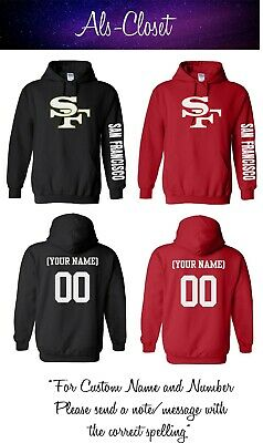 San Francisco 49ers Logo Football Pullover Hooded Sweatshirt with Custom Name