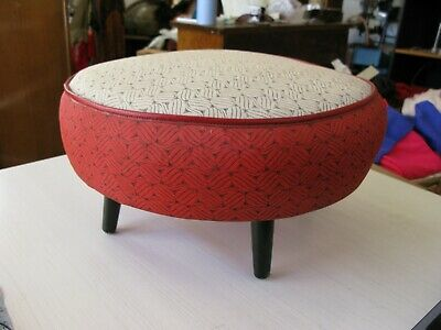 Fab Vintage  Red, Cream & Black Vinyl Pouffe  Footstool
