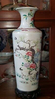 """Antique Chinese Famille Rose 6 Cranes Yongzheng period, Qing dynasty 14"""" vase"""