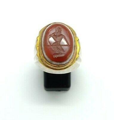 Sterling Silver Antique Roman Seal Genuine Banded Agate Engraved Ring 10.25US