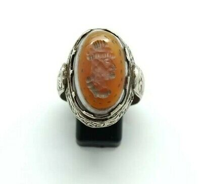 Sterling Silver Antique Old Roman Seal Genuine Banded Agate Engraved Ring 11US