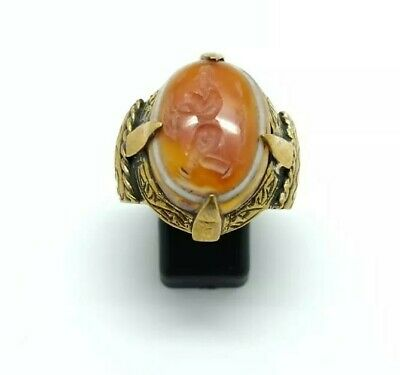 Sterling Silver Antique Roman Seal Genuine Banded Agate Engraved Ring 9.25US