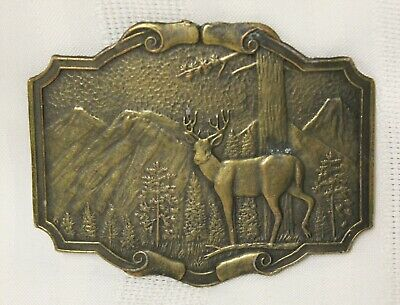Vintage Solid Brass Deer Stag in the Mountains Belt Buckle
