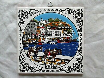 """Vintage Greek Wall Tile 6"""" Hand Painted Hydra VGC"""