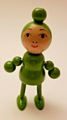 Wooden Japanese Kokeshi Girl Doll Toy Figurine--Movable Arms