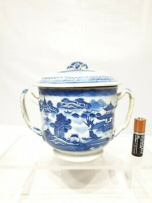"""Nice Chinese Antique 18th/19thc 2 Handled Cup / Sugar Bowl 4"""" Qing AF Restored"""