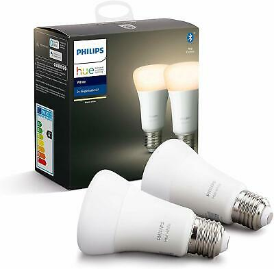 Philips Hue White Smart Bulb Twin Pack LED [E27 Edison Screw]
