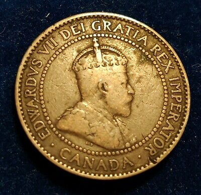 Canada 1 Large Cent 1910 better grade Coin - King Edwards VII