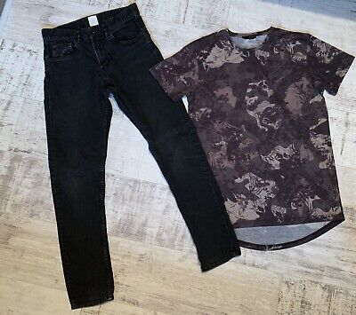Boys Bundle Aged 12 To 13yrs. I Pr. H&M Black Skinny Jeans+ 1 T Shirt Greens