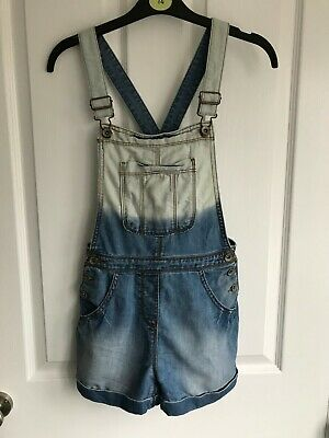 Next blue denim dungaree shorts - age 9 years