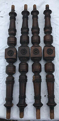 4 Atq Victorian Solid Walnut Turned Wood Salvaged Spindle Part Repurpose 15.5""