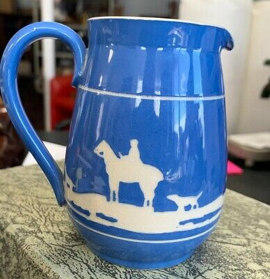 Antique BLUE Cream Pitcher DOGS HORSES FIGURES GREEN & CO. LTD GRESLEY ENGLAND