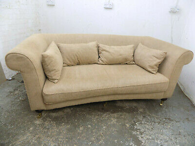 small,edwardian,style,curved,2 seat,brown,sofa,settee,seat,turned legs,castors,