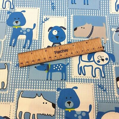 Dog Dogs On Blue Blocks 100% cotton fabric 44 inch/ 110cm pooch doggy fun kids